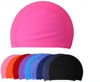 Wholesale Waterproof swimming cap Long Hair Sports Free size Rubber Protect Ears Swim Pool Swimming Caps Hats For Men Women Adults colors