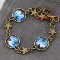 Wholesale 30pcs Blue unicorn Fantasy bracelet Horse Lover Jewelry hand chain glass cabochon ornaments jewelry