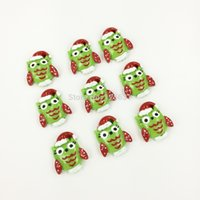 Cheap Green Owl with X'mas Hat Cabochons Resin Flatbacks Scrapbooking Girl Hair Bow Center Crafts Making Embellishments Size:20*25MM