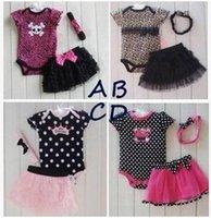Wholesale 2015 baby clothing set summer infant sets dot rompers headband tutu skirt newborn babys toddler cotton jumpsuit outfit bodysuit