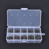 Wholesale New Carbon Steel Fish Jig Hooks with Hole Fishing Tackle Box Set Sizes