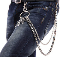 Wholesale Mens Boys Trousers Wallet Key Chain Cross Pendant Pant Jean Gothic Rock Hip Hop Punk