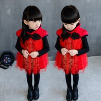 baby chinese new year clothes - Hot Winter Girls Dresses Children Clothing Baby Girls Red Vest Dress Chinese Style New Year Dress Christmas Dress Boutique Kids Clothing
