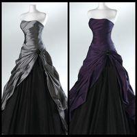 Wholesale Purple And Black Ball Gown Gothic Wedding Dresses for Brides Strapless Grey Floor Length Actual Picture Bridal Gowns Vestidos de Novia