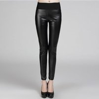women winter tights - Sexy Women High Waist Faux Leather Stretch PU Leggings Pants Tights Thicken Womens Leggings Winter Warm Leggings For Women