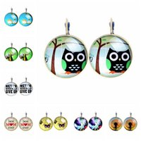 Wholesale Vintage Cute Animal Tree Stud Earrings For Women Glass Cabochon Letter Pendientes Retro Owl Earring Lovely Dome Brincos Perola