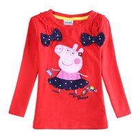 Wholesale F5646D nova baby clothes winter new designer girls peppa pig t shirt girls ruffle outfits embroidery red t shirts with bowknot in stock