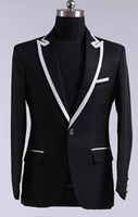 best gun light - 2015 Black Gun Collar Jacket With White Satin Man Wedding Suits For Men Tuxedo Suits Groom Tuxedos Best Blazer