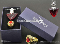 archer ring - Anime Fate stay night Archer Master Tohsaka Rin Cosplay Necklace Pendant and rings red and blue Set