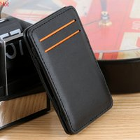 Wholesale New Hot Card Bags High Quality Pu Leather Magic Wallets Fashion Multifunction Men Money Clip Bags Black Brown Red Retail SV028507