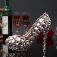 ballet photos - 2015 Crystal Wedding Shoes High heeled Diamond Bride Wedding Dress Shoes Photo Shoe Lady Party Prom Shoe