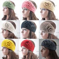 Wholesale HOT Women s Knitted Flower Headband Crochet Handmade Ear Warmer Lady Hairband Winter Headwrap Adjustable