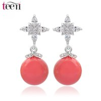Wholesale Clear Silicone Ears - Teemi Brand Wholesale 4 Color Choice High Quality Shell Pearl Drop Earrings Cross Clear AAA Cubic Zircon Ear Clips White Gold Plated Jewelry