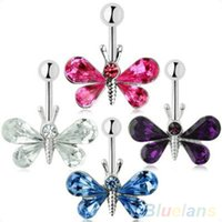 Wholesale Fashion Crystal Butterfly Ball Barbell Bar Belly Button Navel Ring Body Piercing