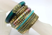 wooden bangles - Wooden Bangles Bracelets for Women Multicouche Pulseira De Couro Vintage Indian Jewelry Pulseira Feminina