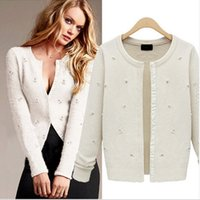 Cheap 2016 Women White Knit Sweater Spring New European and American Women's Beaded Long-sleeved Sweaters Single-Breasted Cardigan Sweater Coats