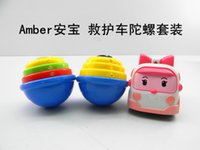 Wholesale set Robocar Poli Transformation Car Peg Top Thomas Classic Action Figure Cars Robot Toys with Spinning top
