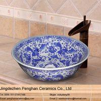 Wholesale Jingdezhen high quality blue and white ceramic round art basin