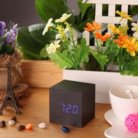 desktop wooden - New USB DC6V Desktop Table Clocks Despertador Digital LED Square Alarm Wood Wooden Clock Temperature Display Voice Sound H14953