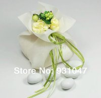 Cheap 50 IVORY Wedding Party Gift Favor Candy Pouch Organza Bags with Bouquet Party Favours Birthday Shower Event Decoration Supplies