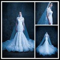 Wholesale Michael Cinco Mermaid Wedding Dresses Lace Short Sleeve Jewel Pearls Chapel Train Wedding Bridal Gowns Custom Made Dress For Marriage