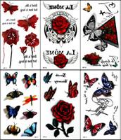 rose tattoos - 100pcs Temporary Tattoo Sticker Colorful Butterfly Rose D Tattoo Tatuagem Totem for Women Skin Beauty Body Art Models for Choose
