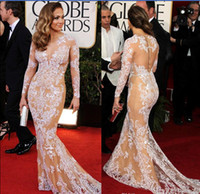 beauty blue - Oscar Zuhair Murad Jennifer Lopez Lace Long Sleeve Celebrity Dress Beauty Mermaid Red Carpet Dresses Evening Dresses New Arrival