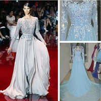 Wholesale Real Images Elie Saab Evening Dresses Crystal Beads Sweep Train A Line See Through Tulle And Chiffon Long Sleeves Prom Dress Cheap