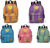 Wholesale Kid Backpacks For School Korean - New arrival korean kids bags fashion stripe children backpacks little bear cartoon schoolbag for nursery school 22*9*29cm 3pcs lot ab2888