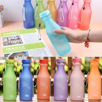 aluminum sports bottles - Candy Color Sports cups With Lanyard korea style plastic water bottle lemon juice sport cup drinkware ml W1