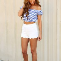 off the shoulder tops - Factory Price Off The Shoulder Ruffled Low Back Short Sleeve Blouse Crop Top