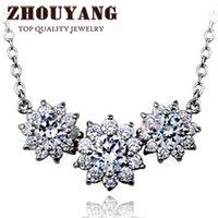 Cheap ZYN398 Sun Flower CZ Diamond 18K Platinum Plated Fashion Pendant Necklace Jewelry Made with Austria Crystal Wholesale
