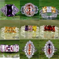 green topaz - HOT Special Luxury Rings Green Yellow White Purple Pink Burgundy Red Round Rectangle Cut Topaz Gems Sliver Plated Princess Wedding Lady Ring