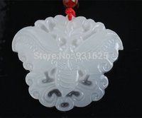 Wholesale NEW Wholesales Jade Natural White Jade Carved Butterfly Lucky Pendants Necklace Pretty Fashion Jewelry