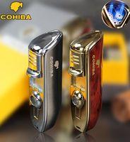 Wholesale 1601 COHIBA brand metal jet windproof Men s cigar gas Lighter Portable refillable Butane torch turbo Lighter Cigar Cutter