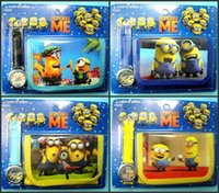 Wholesale Despicable Me Minion Watches with Boxes Cheap Kids Cartoon Wrist Watches Wallet Purse Sets Children s Gift Present