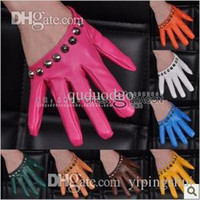 bamboo pole dance - HOT New Rivets imitation leather gloves for women leather Jazz dance pole dancing gloves tactical fashion half backless K092