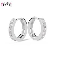 Wholesale Teemi Brand Hot Selling Zircon Stone Hoop Earrings for Women AAA Cubic Zirconia Fine Jewelry For Bridal Wedding Rhodium Plated High Quality
