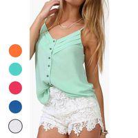Wholesale 2015 summer sexy woman vest sleeveless V neck camisole button shirt plus size casual shirt XXXL Y52 E1409 M5