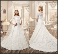beach shrug - 2016 Elegant Lace Wedding Dresses A line Court Train Bateau Neck Half Sleeves Shrug Bridal Wedding Gowns Custom Made