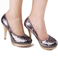 Cheap Silver Enticing Sequins Brand New 13cm High Heels Bride Bridesmaid Wedding Shoes Party Dinner Prom Shoes Size : (34 35 36 37 38 39)113_1