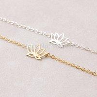 Wholesale 10 Mix Fashion Gold Silver Lotus Bracelet Plant flower Bracelet Girl Jewelry