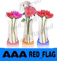Wholesale Folding Foldable Plastic PVC Flower Vase Home Decoration Mix Various Patterns and Styles LLFA