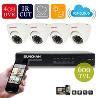 Cheap SUNCHAN 4CH CCTV Kit Home Security System D1 DVR 4 Channel 1080P HDMI 4 Indoor High Resolution 600TVL Cameras 4ch cctv kit