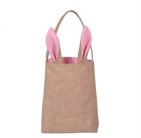 Wholesale DHL New Easter Bunny Bag Jute Burlap Material Cute Rabbit Ears Gifts Bag for Kids Basket Shopping Bag in Party Decoration