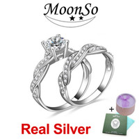 real diamond ring - MOONSO Sterling Silver Wedding Rings Double Set Two Gifts CZ Diamond for Women Engagement Jewelry Real Pure Genuine ZR751S