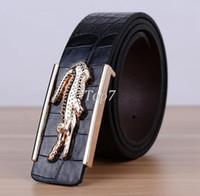 Wholesale 2016 brand new crocodile skin belts for men luxury waistband crocodile buckle Faux leather man belt cintos ceinture cm