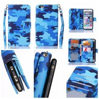 army money - Multifunction Camouflage Pouch Wallet Leather For Iphone S Plus S C Photo Card Slot Army Military Camo Money Pocket Case Strap