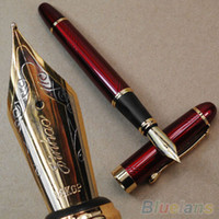Wholesale Stainless Steel Fountain Pen Nib - Jinhao Fountain Pen X450 Deep Red Twist Carven Fine Nib Study Office Pens 2KZS