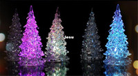 acrylic lamp box - New Cool Christmas Halloween Tree Ornament Acrylic Crystal Colorful Mini Changing LED night light lamp Decoration Kids Gift with retail box